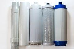 Verschillende soorten waterfilters stock afbeelding