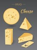 Verschillende stukken van kaas Stock Foto's