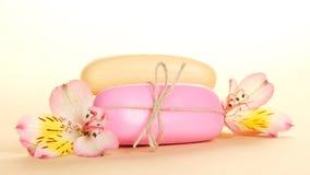 Verschillende stukken van zeep en bloem Royalty-vrije Stock Afbeelding
