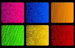 Verschillende texturen op helder gekleurd Stock Afbeeldingen