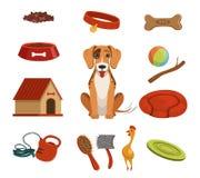 Verschillende toebehoren voor binnenlands huisdier Hond binnenshuis Vector geplaatste illustraties stock illustratie