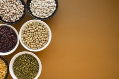 Verschillende types van bonen in kommen royalty-vrije stock foto's