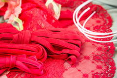 Verschillende types van doek, textiel voor het maken van bustehouders Stock Foto