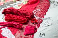Verschillende types van doek, textiel voor het maken van bustehouders Stock Afbeeldingen