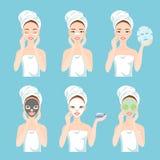 Verschillende types van gezichtsmaskers voor huidzorg en behandeling Klei, houtskool, voor neus, ogen, document, blad en verse ma Vector Illustratie