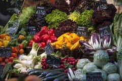 Verschillende types van groenten op de Stadsmarkt in Londen royalty-vrije stock foto's