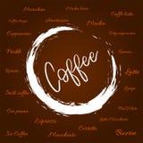 Verschillende types van koffie en koffievlek royalty-vrije illustratie