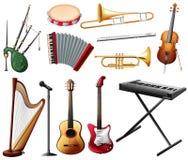 Verschillende types van muzikaal instrument op wit vector illustratie