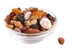 Verschillende types van noten in één mengsel stock afbeelding