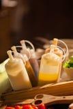 Verschillende types van saladesausen Stock Foto