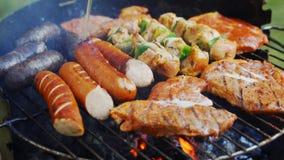 Verschillende types van sappig vlees op hete steenkolen bij de grill in tuin stock footage