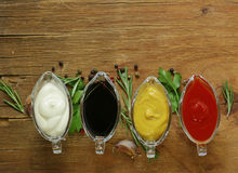 Verschillende types van sausen in jus Royalty-vrije Stock Afbeeldingen