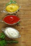 Verschillende types van sausen in jus Royalty-vrije Stock Foto