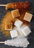 Verschillende types van suiker Stock Foto's