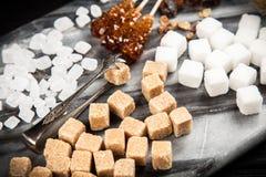 Verschillende types van suiker Stock Afbeeldingen
