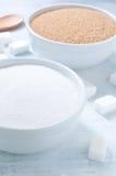 Verschillende types van suiker: bruine, witte en geraffineerde suiker Royalty-vrije Stock Foto's