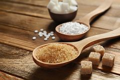 Verschillende types van suiker op lijst Royalty-vrije Stock Fotografie