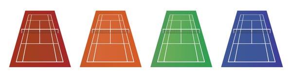 Verschillende types van tennisbanen - klei, gras en andere Royalty-vrije Stock Foto