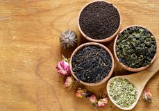 Verschillende types van thee royalty-vrije stock afbeeldingen