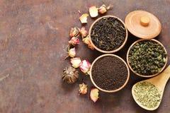 Verschillende types van thee stock afbeeldingen