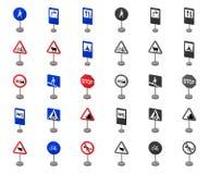 Verschillende types van verkeerstekenbeeldverhaal, monopictogrammen in vastgestelde inzameling voor ontwerp Waarschuwing en verbo stock illustratie