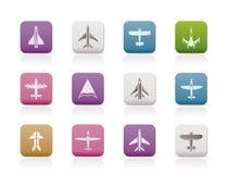 Verschillende types van vliegtuigpictogrammen Royalty-vrije Stock Afbeelding