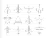 Verschillende types van vliegtuigpictogrammen Stock Foto