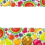 Verschillende types van vruchten die in frame worden gecombineerd vector illustratie