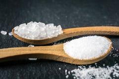Verschillende types van zout Hoogste mening over twee houten lepels Royalty-vrije Stock Afbeelding