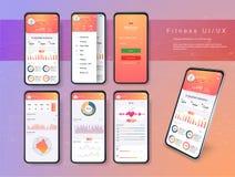 Verschillende UI, UX, GUI-de schermengeschiktheid app en vlakke Webpictogrammen voor mobiele toepassingen, ontvankelijke website  stock illustratie