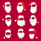 Verschillende van het van de Kerstmanhoeden, snor en baardenmalplaatje reeks De elementen van het Kerstmisgezicht voor voorbij uw stock illustratie