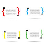 Verschillende variatie van de citaat de lege krullende steun met schaduw Stock Foto