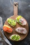 Verschillende veganistsandwiches met groenten, radijs, tomaat, roggebrood op zwarte Voorgerecht voor partij royalty-vrije stock foto