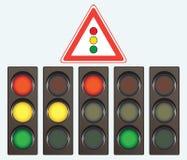 Verschillende verkeerslicht en verkeersteken royalty-vrije illustratie