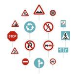 Verschillende verkeersteken geplaatst vlakke pictogrammen stock illustratie
