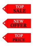 Verschillende verkoopemblemen stock fotografie