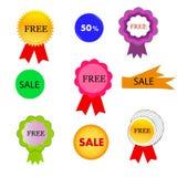 Verschillende verkoopmarkeringen /icons Stock Fotografie