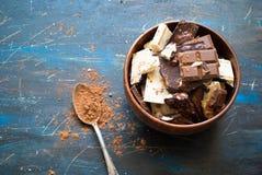 Verschillende verscheidenheden van chocolade Stock Foto