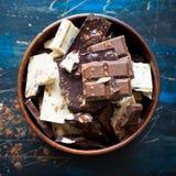 Verschillende verscheidenheden van chocolade Royalty-vrije Stock Afbeelding