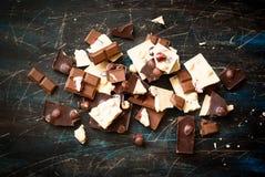 Verschillende verscheidenheden van chocolade Royalty-vrije Stock Foto's