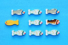 verschillende vissen die tegenover manier van identieke degenen zwemmen Moed en succesconcept stock afbeeldingen