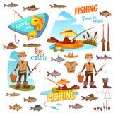 Verschillende vissen en visser Stock Foto
