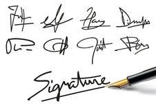 Verschillende voorbeelden van handtekeningsstijl Royalty-vrije Stock Foto