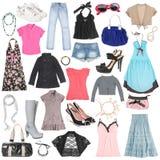 Verschillende vrouwelijke kleren, schoenen en toebehoren. Royalty-vrije Stock Afbeeldingen