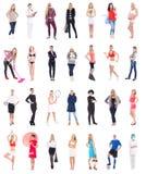 Verschillende vrouwenportretten over wit stock fotografie