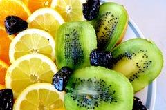 Verschillende vruchten, sinaasappelen, citroenen, kiwi en gedroogde pruimen royalty-vrije stock foto