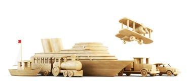 Verschillende wijzen van vervoer Conceptueel 3d beeld stock illustratie