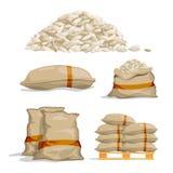 Verschillende zakken witte rijst De vectorillustraties van de voedselopslag royalty-vrije illustratie