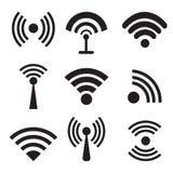 Verschillende zwarte vectorradio en wifipictogrammen Stock Foto's