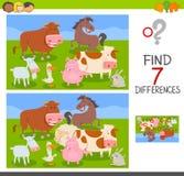 Verschillenspel met de groep van landbouwbedrijfdieren Royalty-vrije Stock Afbeeldingen